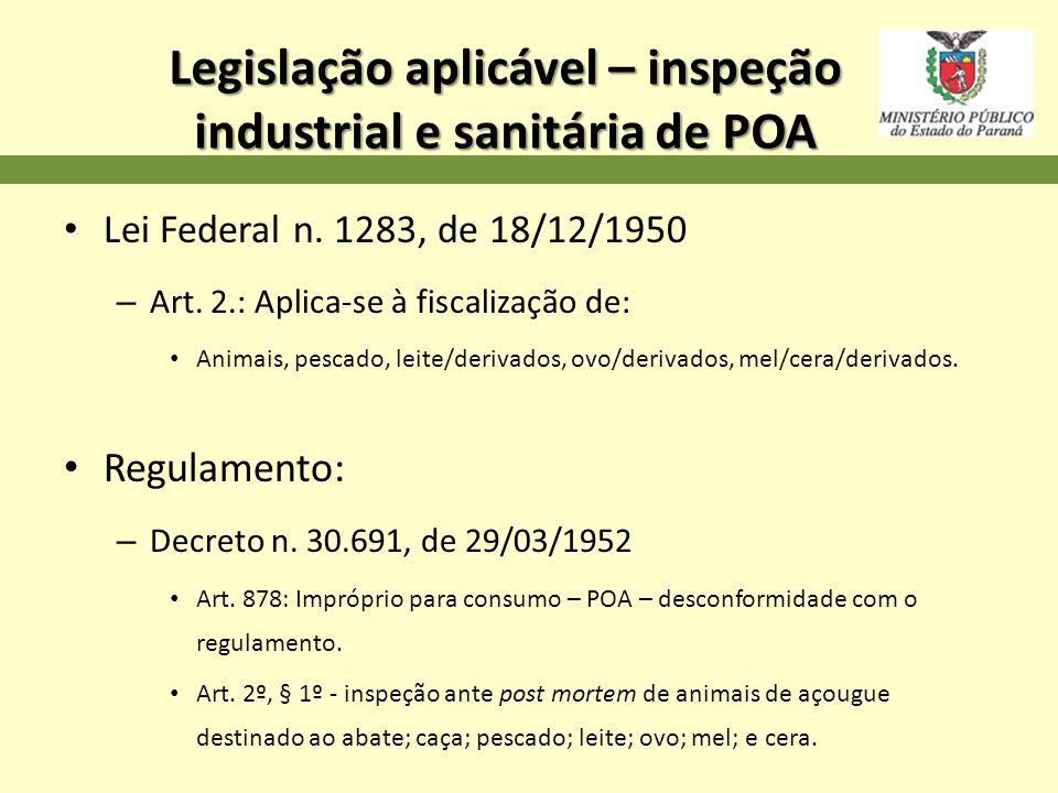 Legislação aplicável – inspeção industrial e sanitária de POA Lei Federal n. 1283, de 18/12/1950 – Art. 2.: Aplica-se à fiscalização de: Animais, pesc