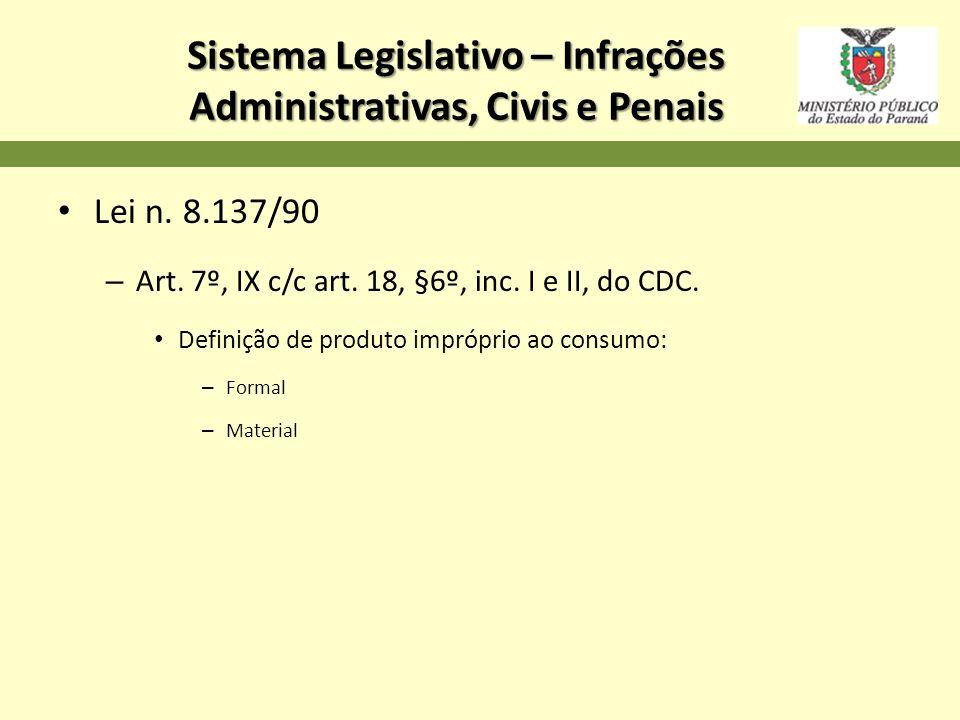 Sistema Legislativo – Infrações Administrativas, Civis e Penais Lei n. 8.137/90 – Art. 7º, IX c/c art. 18, §6º, inc. I e II, do CDC. Definição de prod