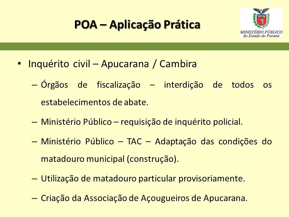POA – Aplicação Prática Inquérito civil – Apucarana / Cambira – Órgãos de fiscalização – interdição de todos os estabelecimentos de abate. – Ministéri