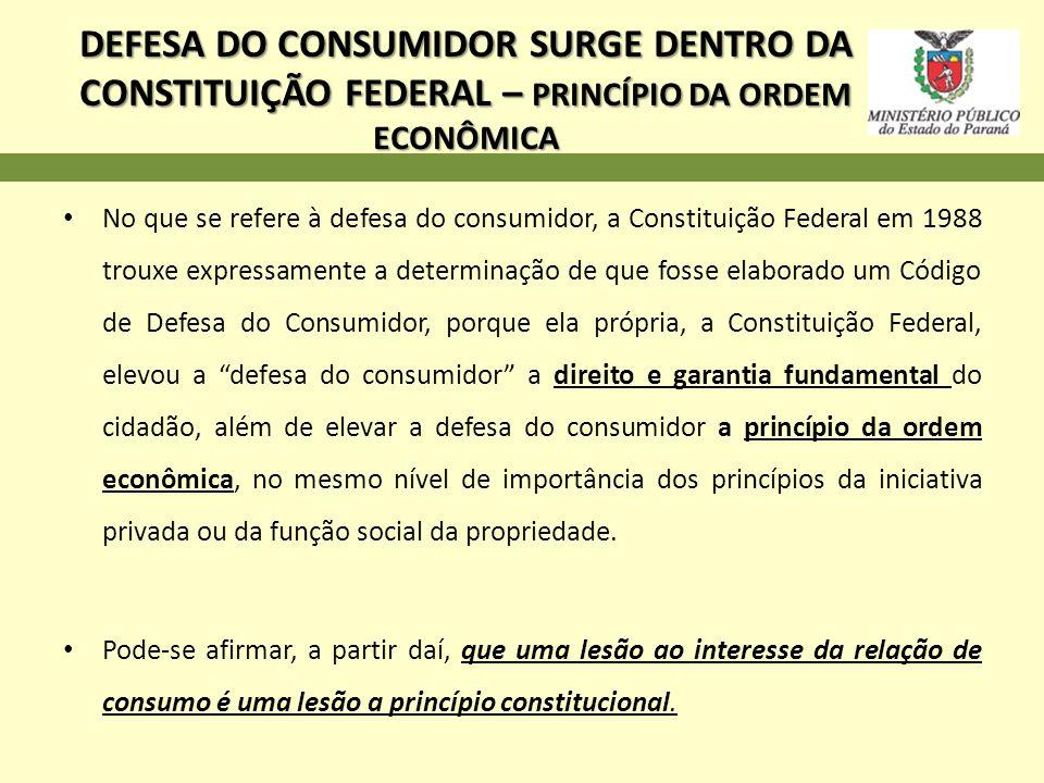 DEFESA DO CONSUMIDOR SURGE DENTRO DA CONSTITUIÇÃO FEDERAL – PRINCÍPIO DA ORDEM ECONÔMICA No que se refere à defesa do consumidor, a Constituição Feder