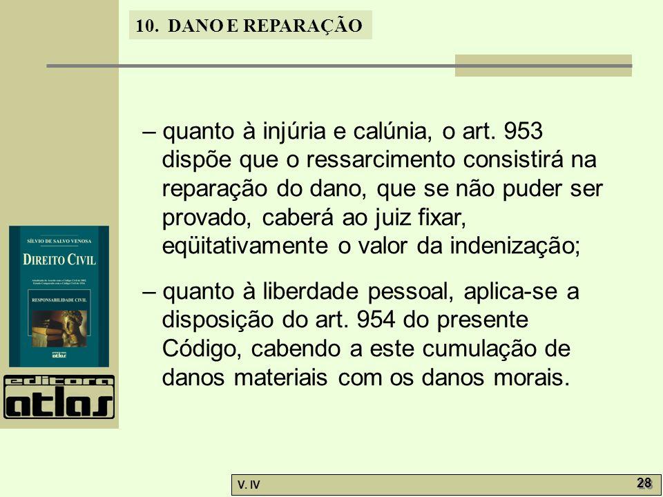 10. DANO E REPARAÇÃO V. IV 28 – quanto à injúria e calúnia, o art. 953 dispõe que o ressarcimento consistirá na reparação do dano, que se não puder se
