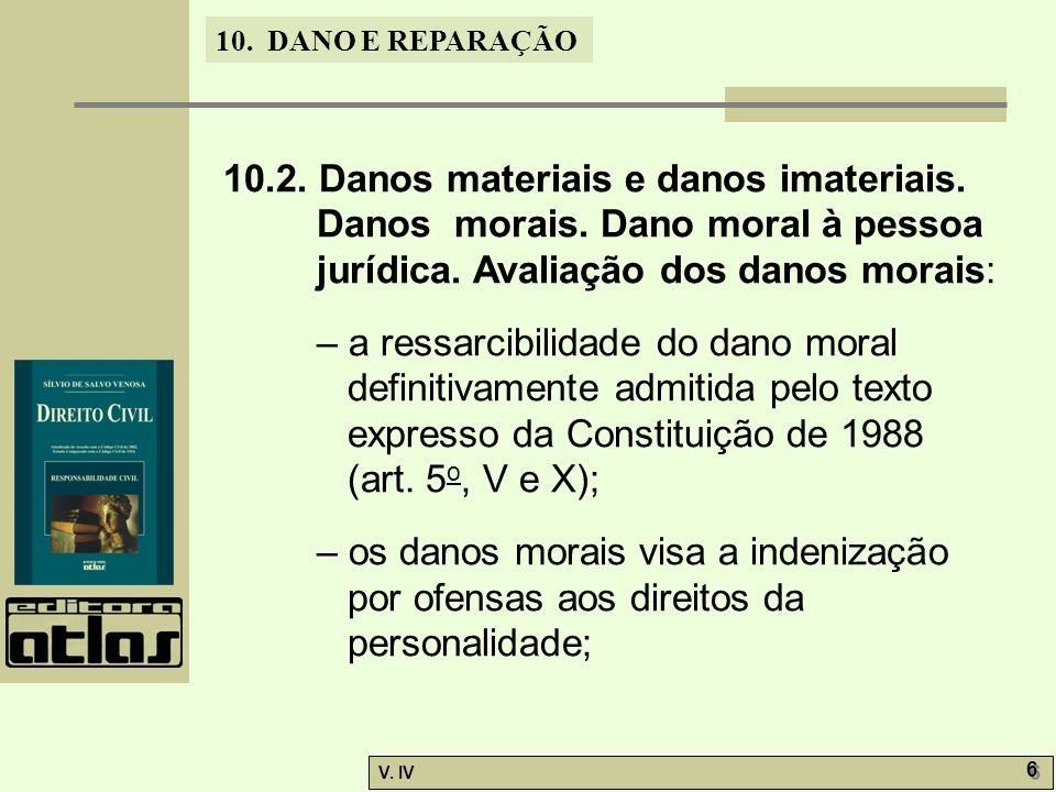 10.DANO E REPARAÇÃO V. IV 27 10.7. Indenização por injúria, difamação e calúnia.