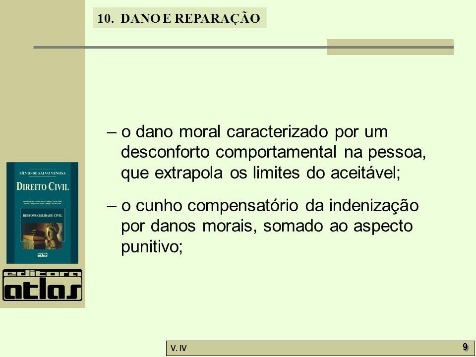 10. DANO E REPARAÇÃO V. IV 9 9 – o dano moral caracterizado por um desconforto comportamental na pessoa, que extrapola os limites do aceitável; – o cu