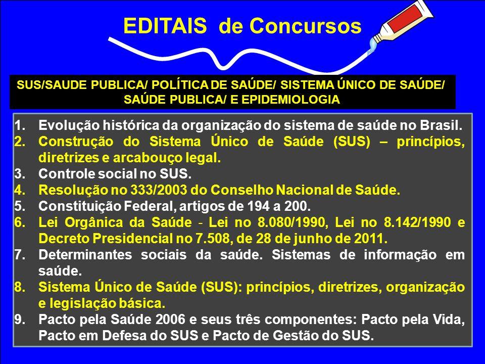 EDITAIS de Concursos SUS/SAUDE PUBLICA/ POLÍTICA DE SAÚDE/ SISTEMA ÚNICO DE SAÚDE/ SAÚDE PUBLICA/ E EPIDEMIOLOGIA 1.Evolução histórica da organização