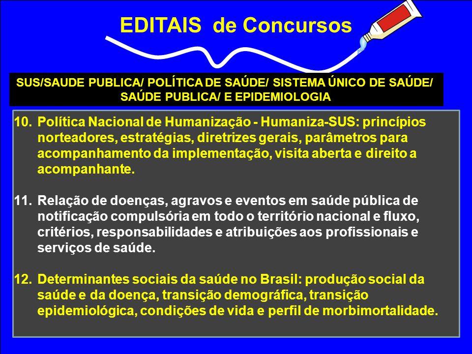 EDITAIS de Concursos SUS/SAUDE PUBLICA/ POLÍTICA DE SAÚDE/ SISTEMA ÚNICO DE SAÚDE/ SAÚDE PUBLICA/ E EPIDEMIOLOGIA 10.Política Nacional de Humanização
