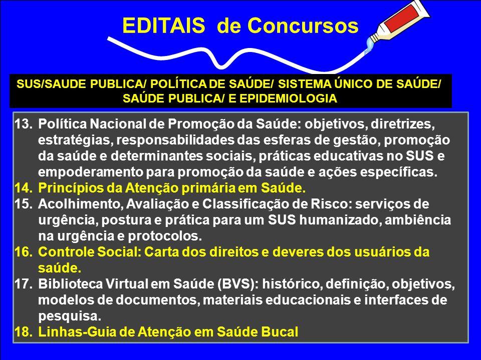 EDITAIS de Concursos SUS/SAUDE PUBLICA/ POLÍTICA DE SAÚDE/ SISTEMA ÚNICO DE SAÚDE/ SAÚDE PUBLICA/ E EPIDEMIOLOGIA 13.Política Nacional de Promoção da
