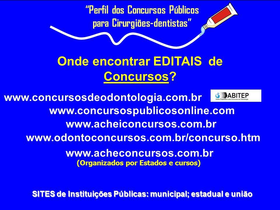 Concursos Onde encontrar EDITAIS de Concursos? www.concursosdeodontologia.com.br Perfil dos Concursos Públicos para Cirurgiões-dentistas SITES de Inst
