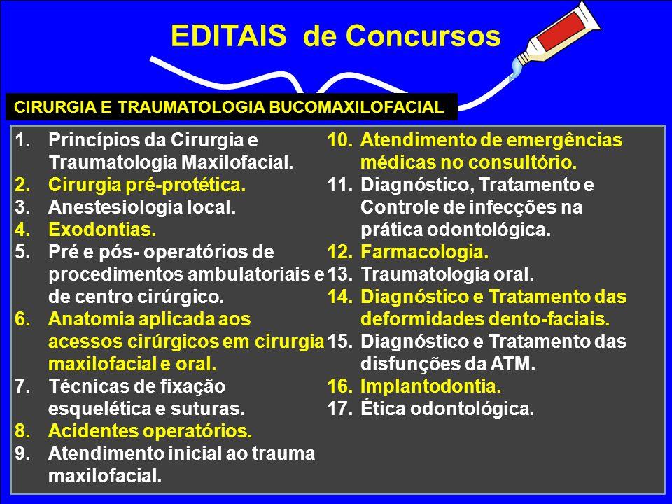 EDITAIS de Concursos CIRURGIA E TRAUMATOLOGIA BUCOMAXILOFACIAL 1.Princípios da Cirurgia e Traumatologia Maxilofacial. 2.Cirurgia pré-protética. 3.Anes