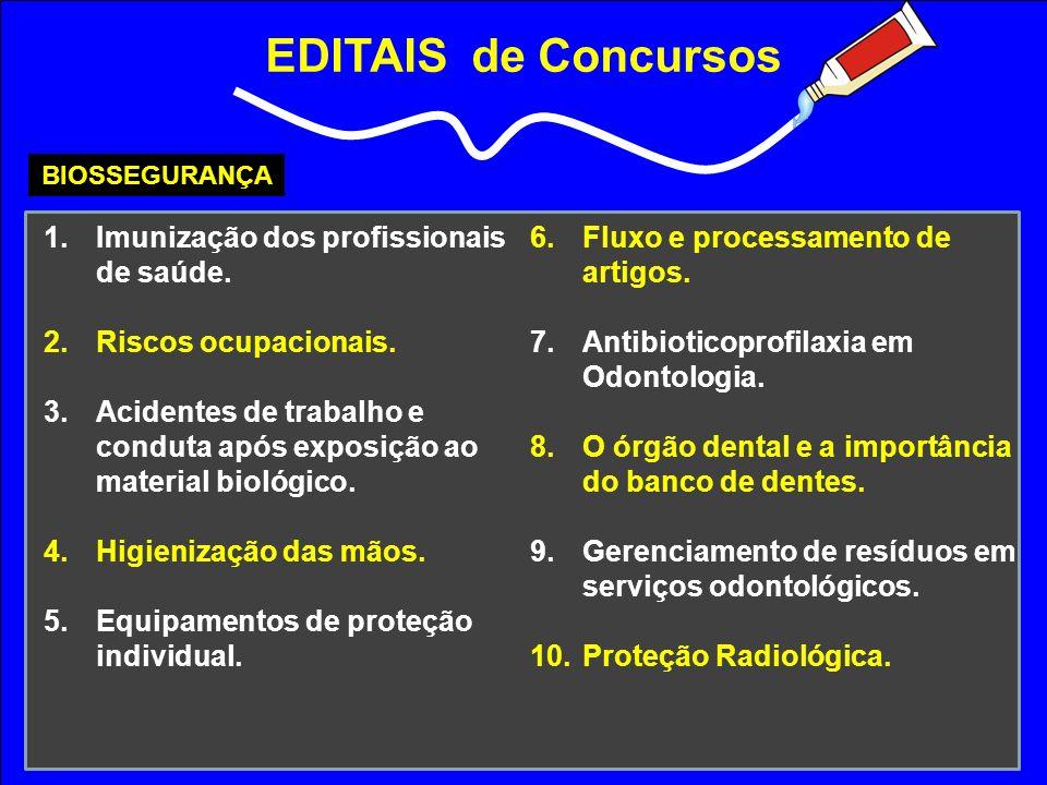EDITAIS de Concursos BIOSSEGURANÇA 1.Imunização dos profissionais de saúde. 2.Riscos ocupacionais. 3.Acidentes de trabalho e conduta após exposição ao