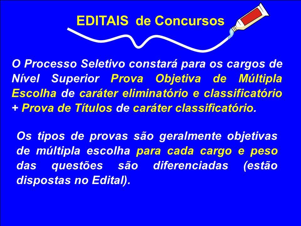 EDITAIS de Concursos O Processo Seletivo constará para os cargos de Nível Superior Prova Objetiva de Múltipla Escolha de caráter eliminatório e classi