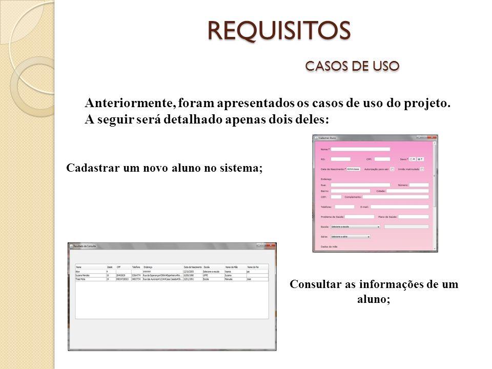 REQUISITOS CASOS DE USO Anteriormente, foram apresentados os casos de uso do projeto.