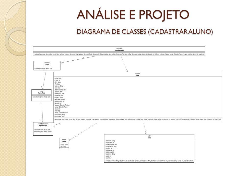 ANÁLISE E PROJETO DIAGRAMA DE CLASSES (CADASTRAR ALUNO)