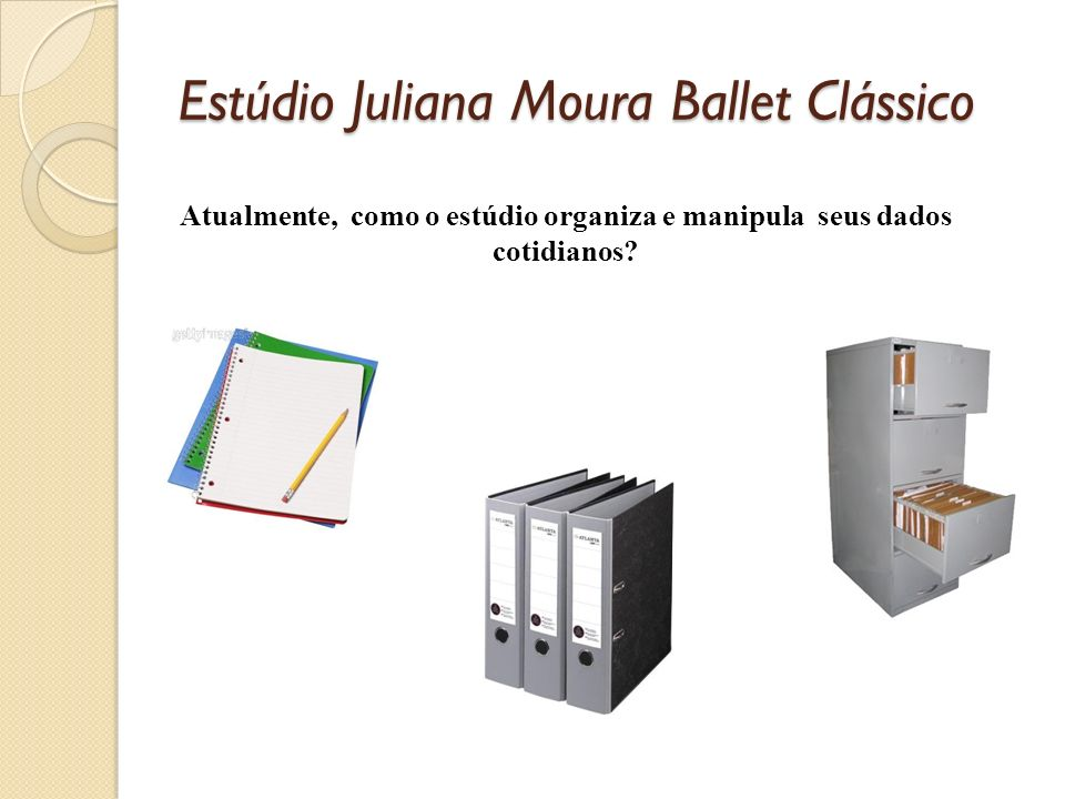 Estúdio Juliana Moura Ballet Clássico Atualmente, como o estúdio organiza e manipula seus dados cotidianos?