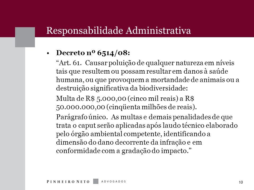 10 Responsabilidade Administrativa Decreto nº 6514/08: Art. 61. Causar poluição de qualquer natureza em níveis tais que resultem ou possam resultar em