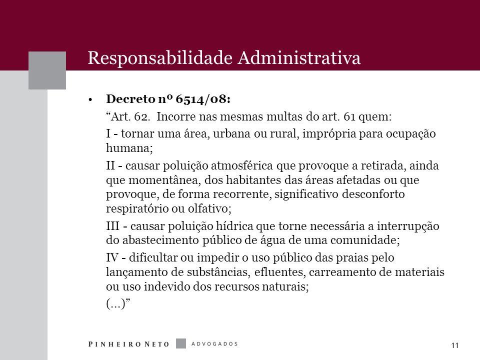 11 Responsabilidade Administrativa Decreto nº 6514/08: Art. 62. Incorre nas mesmas multas do art. 61 quem: I - tornar uma área, urbana ou rural, impró