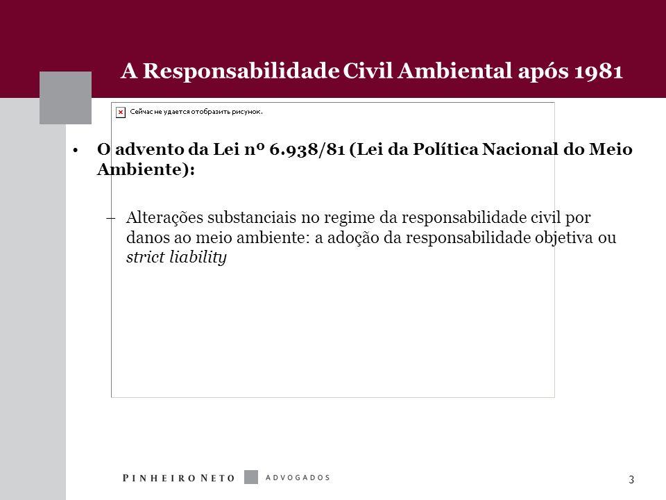 3 A Responsabilidade Civil Ambiental após 1981 O advento da Lei nº 6.938/81 (Lei da Política Nacional do Meio Ambiente): –Alterações substanciais no r