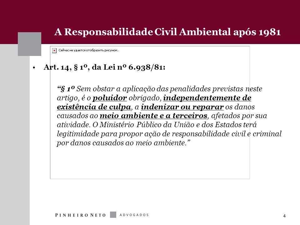 4 A Responsabilidade Civil Ambiental após 1981 Art. 14, § 1º, da Lei nº 6.938/81: § 1º Sem obstar a aplicação das penalidades previstas neste artigo,
