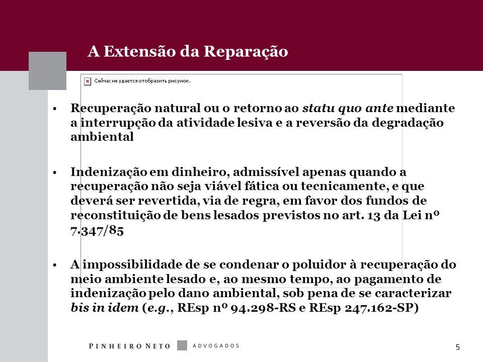 5 A Extensão da Reparação Recuperação natural ou o retorno ao statu quo ante mediante a interrupção da atividade lesiva e a reversão da degradação amb