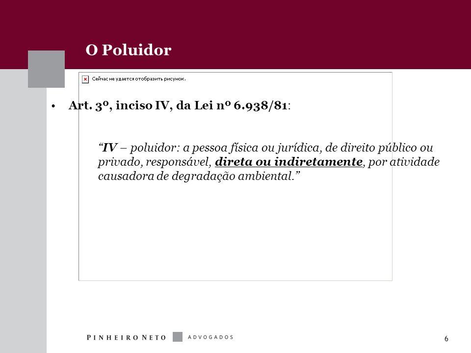6 O Poluidor Art. 3º, inciso IV, da Lei nº 6.938/81: IV – poluidor: a pessoa física ou jurídica, de direito público ou privado, responsável, direta ou
