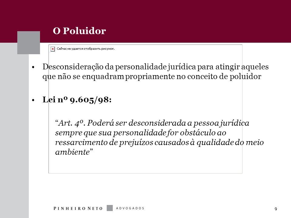 9 O Poluidor Desconsideração da personalidade jurídica para atingir aqueles que não se enquadram propriamente no conceito de poluidor Lei nº 9.605/98: