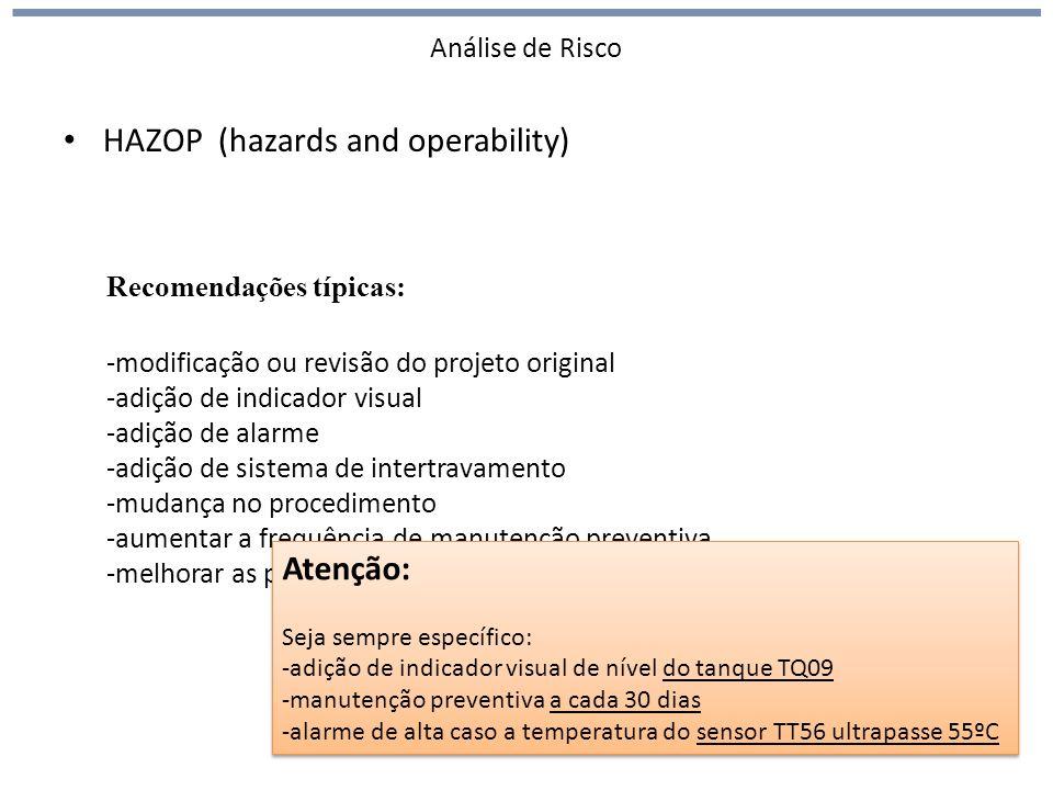 Análise de Risco HAZOP (hazards and operability) Recomendações típicas: -modificação ou revisão do projeto original -adição de indicador visual -adiçã