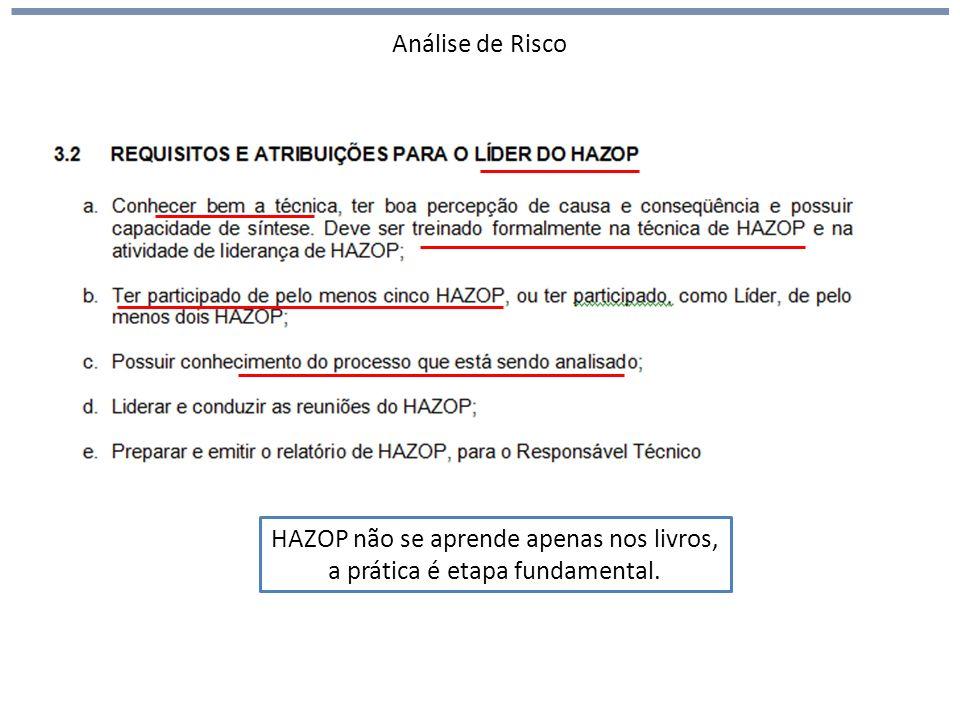 Análise de Risco HAZOP (hazards and operability) HAZOP não se aprende apenas nos livros, a prática é etapa fundamental.