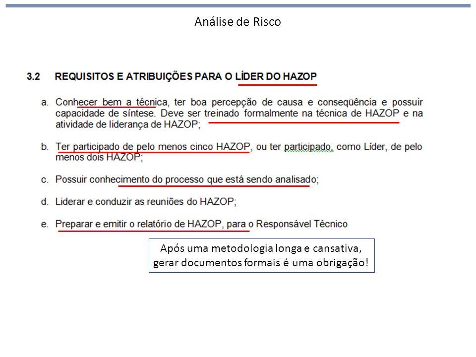 Análise de Risco HAZOP (hazards and operability) Após uma metodologia longa e cansativa, gerar documentos formais é uma obrigação!