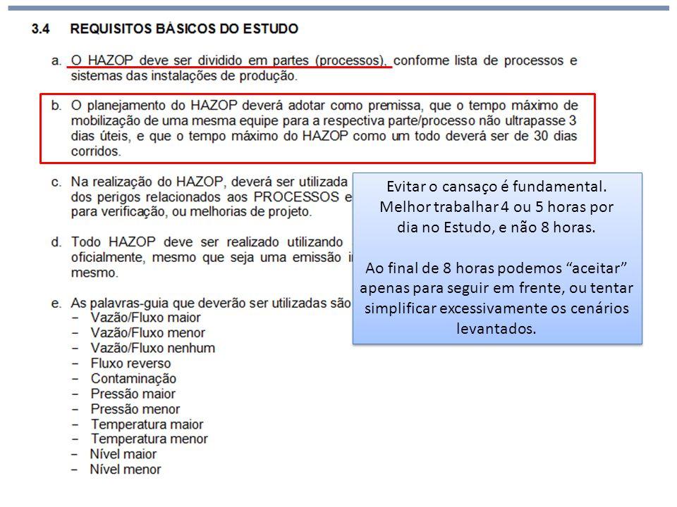 Análise de Risco HAZOP (hazards and operability) Evitar o cansaço é fundamental.