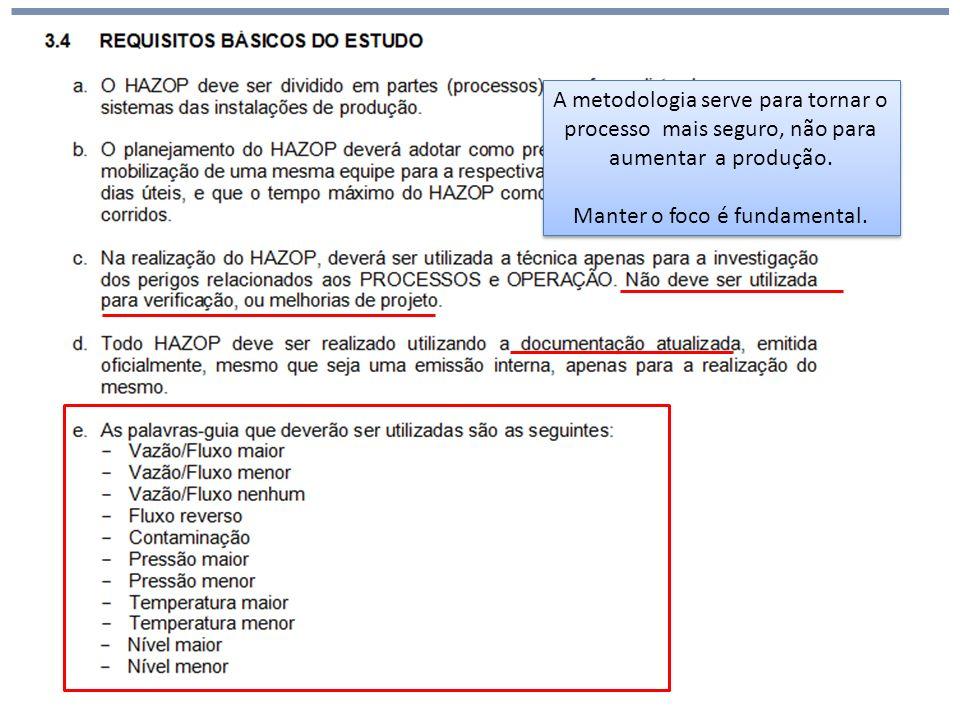 Análise de Risco HAZOP (hazards and operability) A metodologia serve para tornar o processo mais seguro, não para aumentar a produção. Manter o foco é