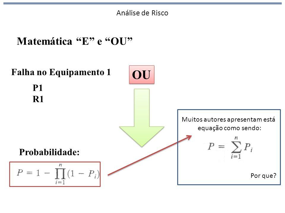 Análise de Risco Falha no Equipamento 1 P1 R1 Probabilidade: Matemática E e OU Muitos autores apresentam está equação como sendo: OU Por que?