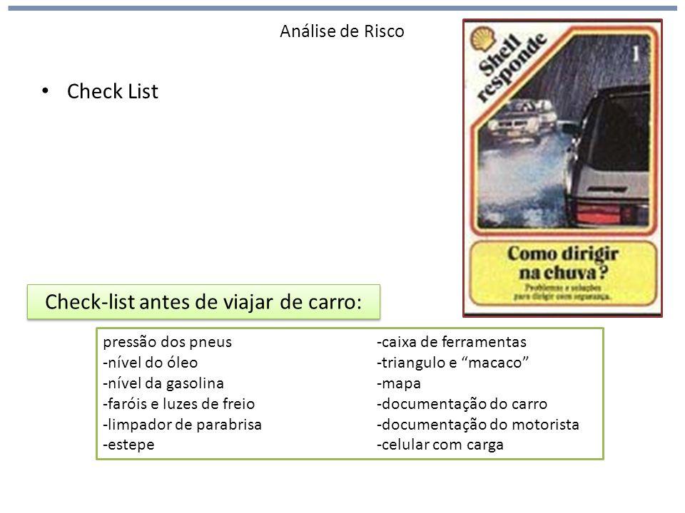Análise de Risco Check List Check-list antes de viajar de carro: pressão dos pneus-caixa de ferramentas -nível do óleo-triangulo e macaco -nível da gasolina-mapa -faróis e luzes de freio-documentação do carro -limpador de parabrisa-documentação do motorista -estepe-celular com carga