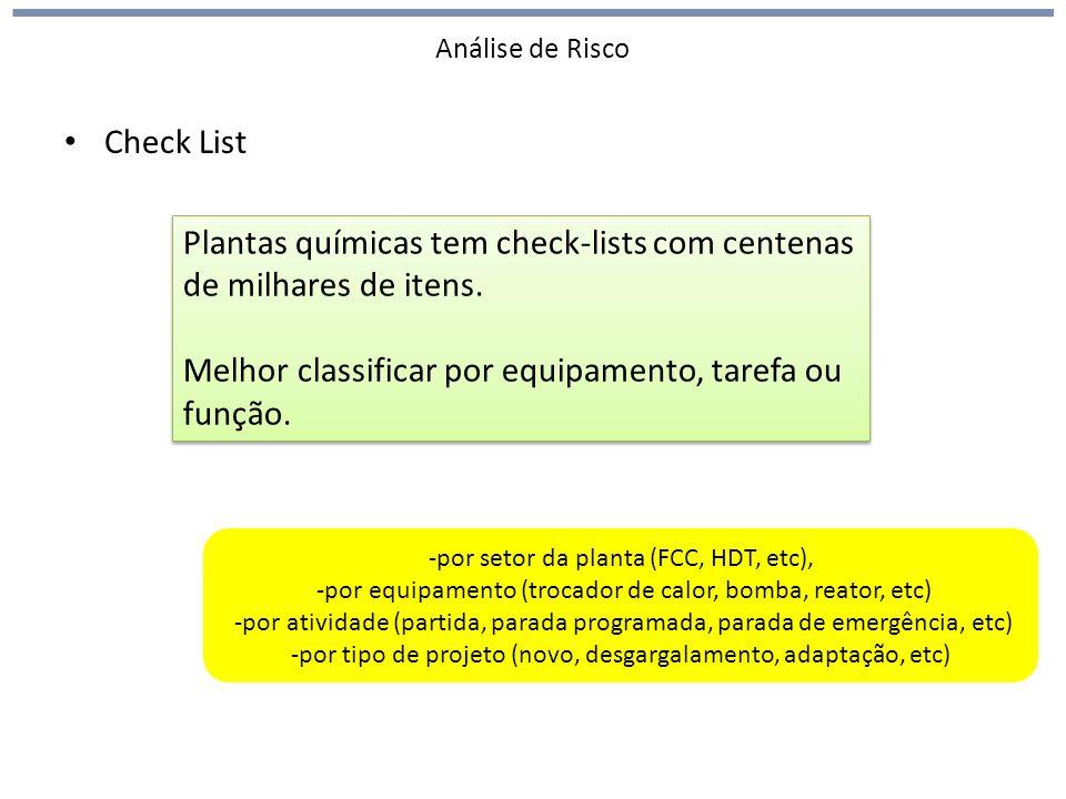 Análise de Risco Check List Plantas químicas tem check-lists com centenas de milhares de itens. Melhor classificar por equipamento, tarefa ou função.