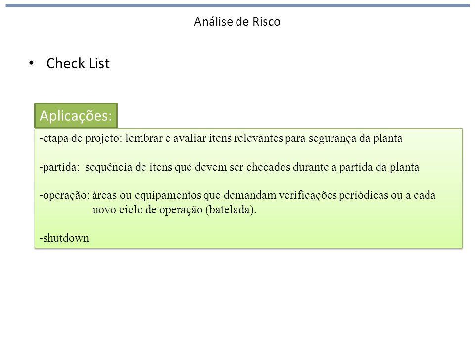 Análise de Risco Check List -etapa de projeto: lembrar e avaliar itens relevantes para segurança da planta -partida: sequência de itens que devem ser
