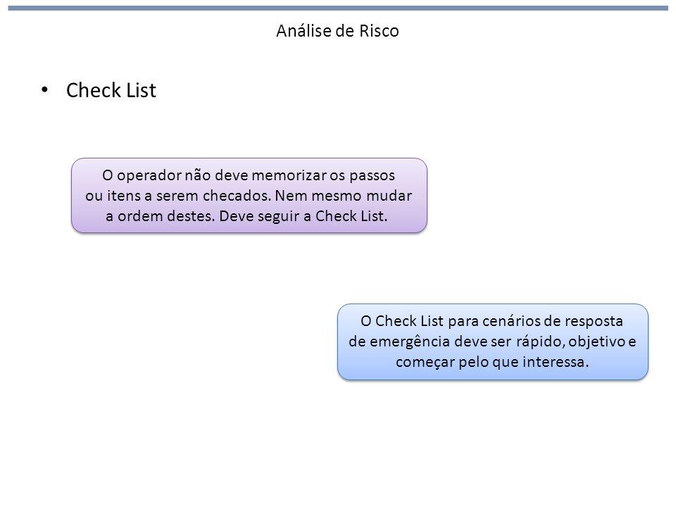 Análise de Risco Check List O operador não deve memorizar os passos ou itens a serem checados. Nem mesmo mudar a ordem destes. Deve seguir a Check Lis