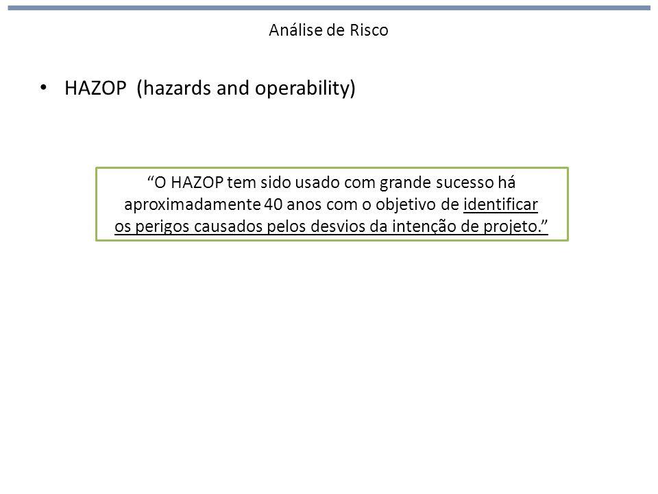 Análise de Risco HAZOP (hazards and operability) O HAZOP tem sido usado com grande sucesso há aproximadamente 40 anos com o objetivo de identificar os perigos causados pelos desvios da intenção de projeto.