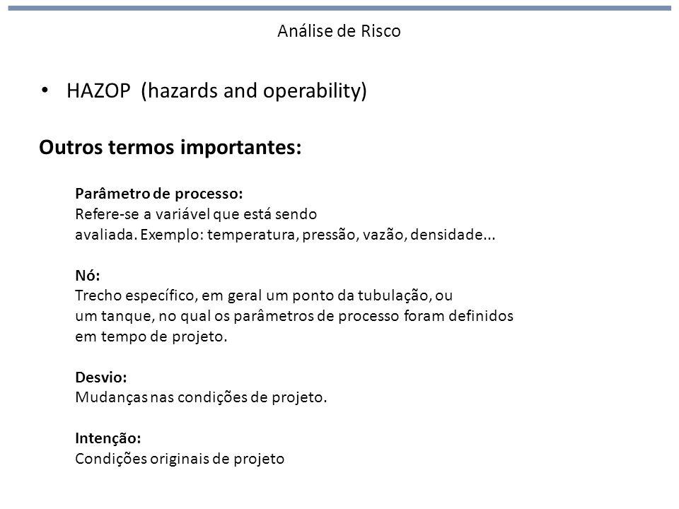 Análise de Risco HAZOP (hazards and operability) Outros termos importantes: Parâmetro de processo: Refere-se a variável que está sendo avaliada. Exemp