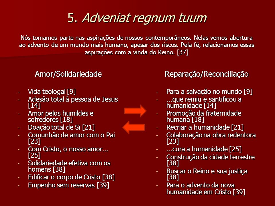 5. Adveniat regnum tuum Nós tomamos parte nas aspirações de nossos contemporâneos. Nelas vemos abertura ao advento de um mundo mais humano, apesar dos