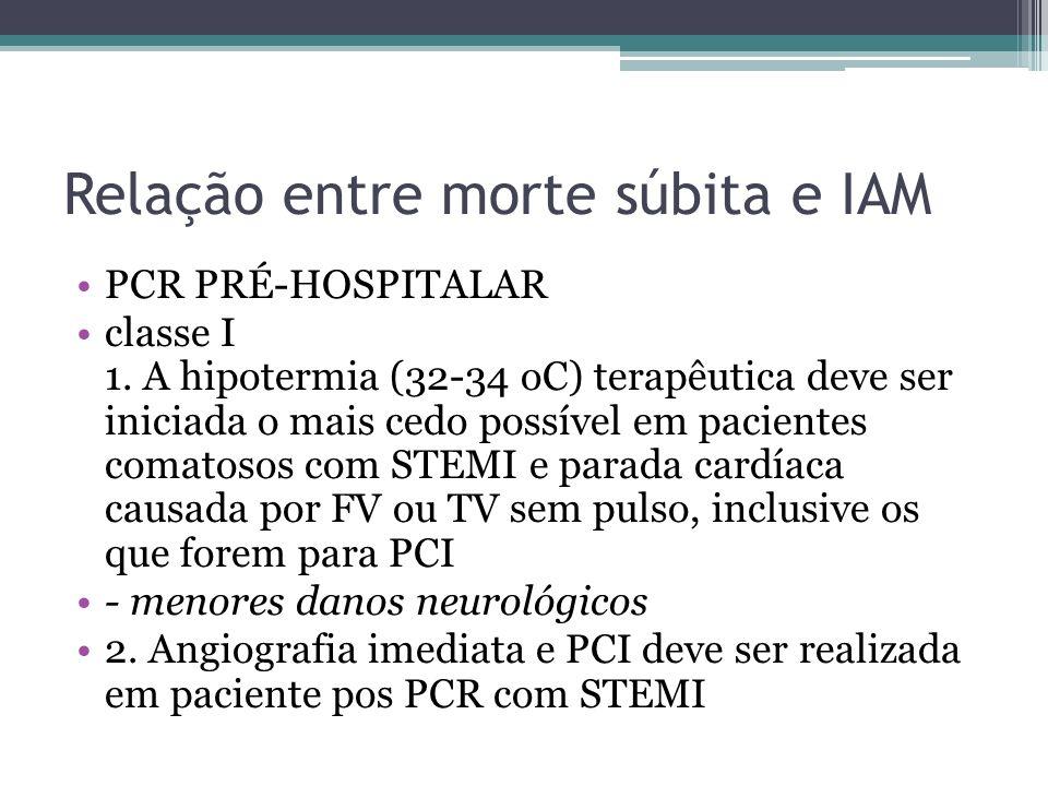Relação entre morte súbita e IAM PCR PRÉ-HOSPITALAR classe I 1. A hipotermia (32-34 oC) terapêutica deve ser iniciada o mais cedo possível em paciente