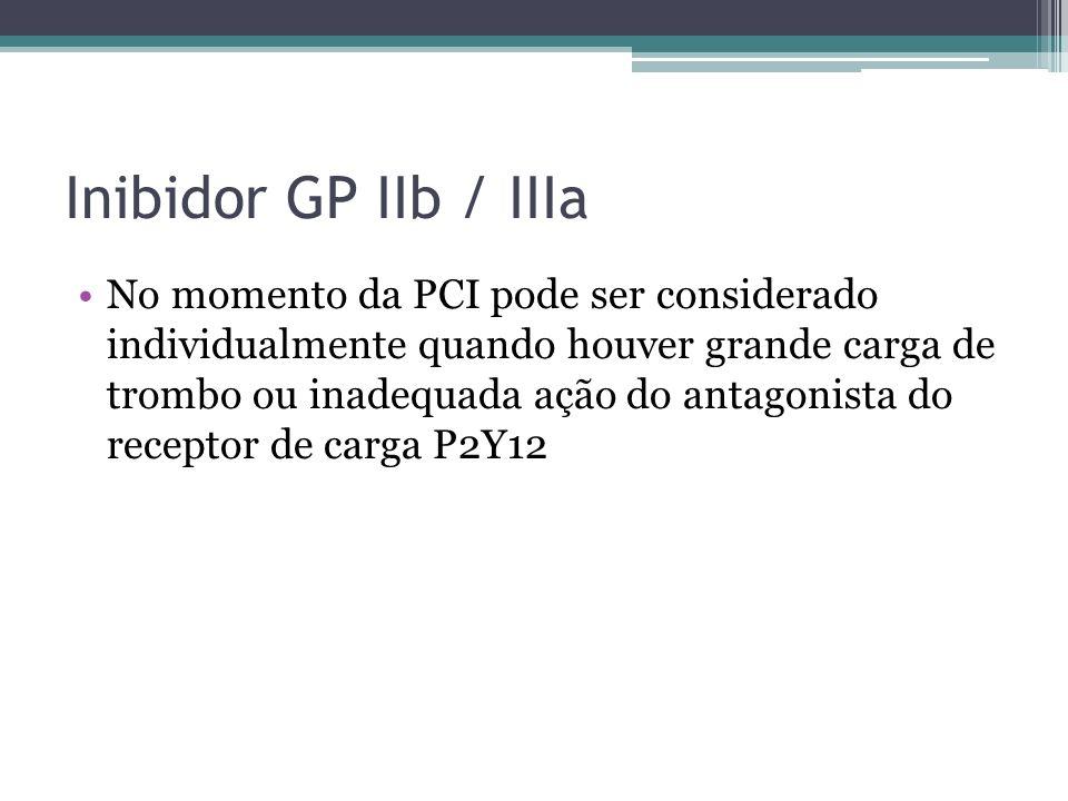 Inibidor GP IIb / IIIa No momento da PCI pode ser considerado individualmente quando houver grande carga de trombo ou inadequada ação do antagonista d
