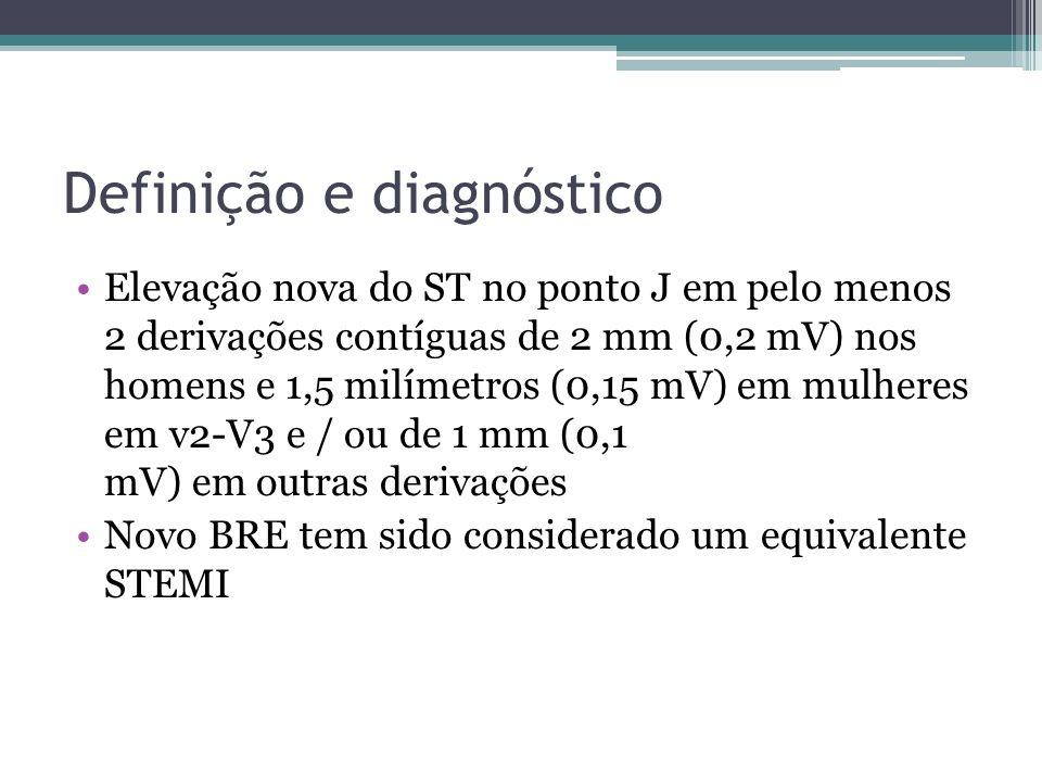 Definição e diagnóstico Elevação nova do ST no ponto J em pelo menos 2 derivações contíguas de 2 mm (0,2 mV) nos homens e 1,5 milímetros (0,15 mV) em