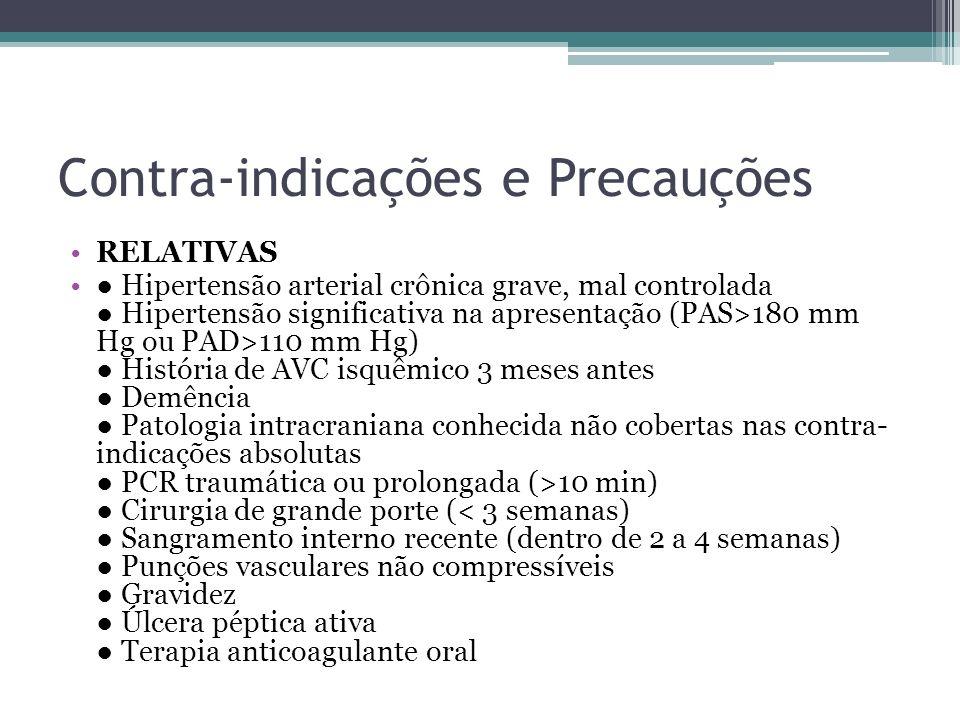 Contra-indicações e Precauções RELATIVAS Hipertensão arterial crônica grave, mal controlada Hipertensão significativa na apresentação (PAS>180 mm Hg o