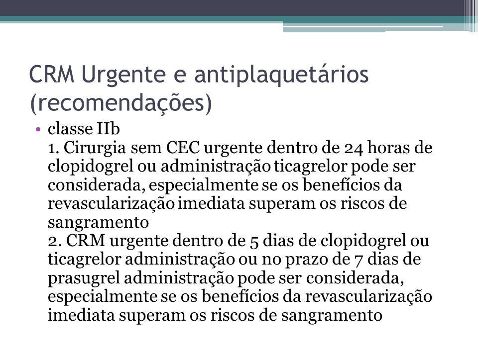 CRM Urgente e antiplaquetários (recomendações) classe IIb 1. Cirurgia sem CEC urgente dentro de 24 horas de clopidogrel ou administração ticagrelor po