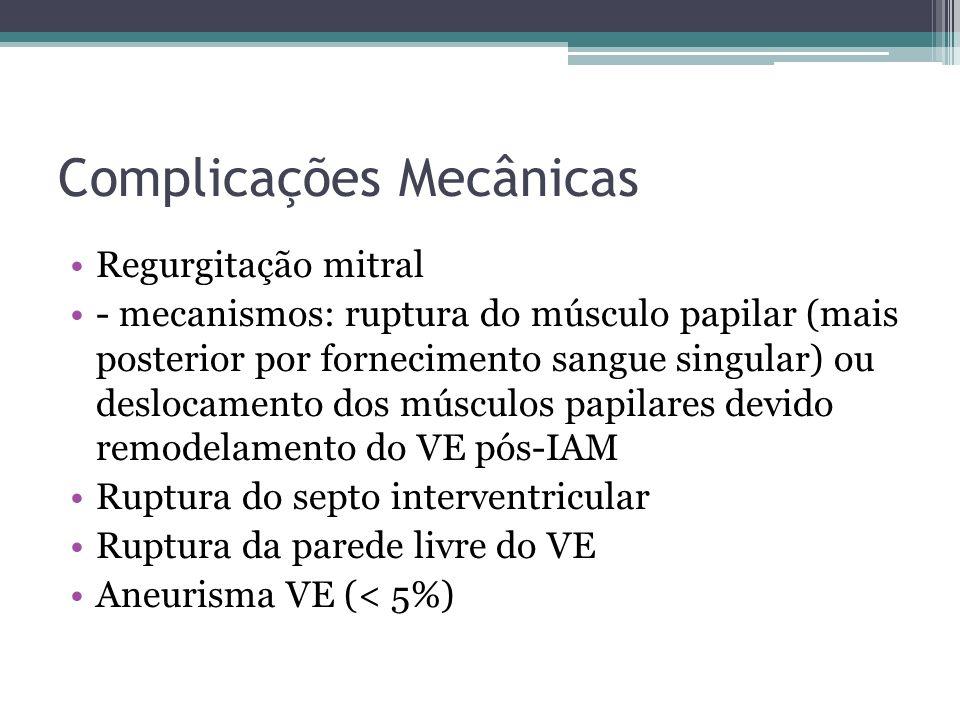 Complicações Mecânicas Regurgitação mitral - mecanismos: ruptura do músculo papilar (mais posterior por fornecimento sangue singular) ou deslocamento