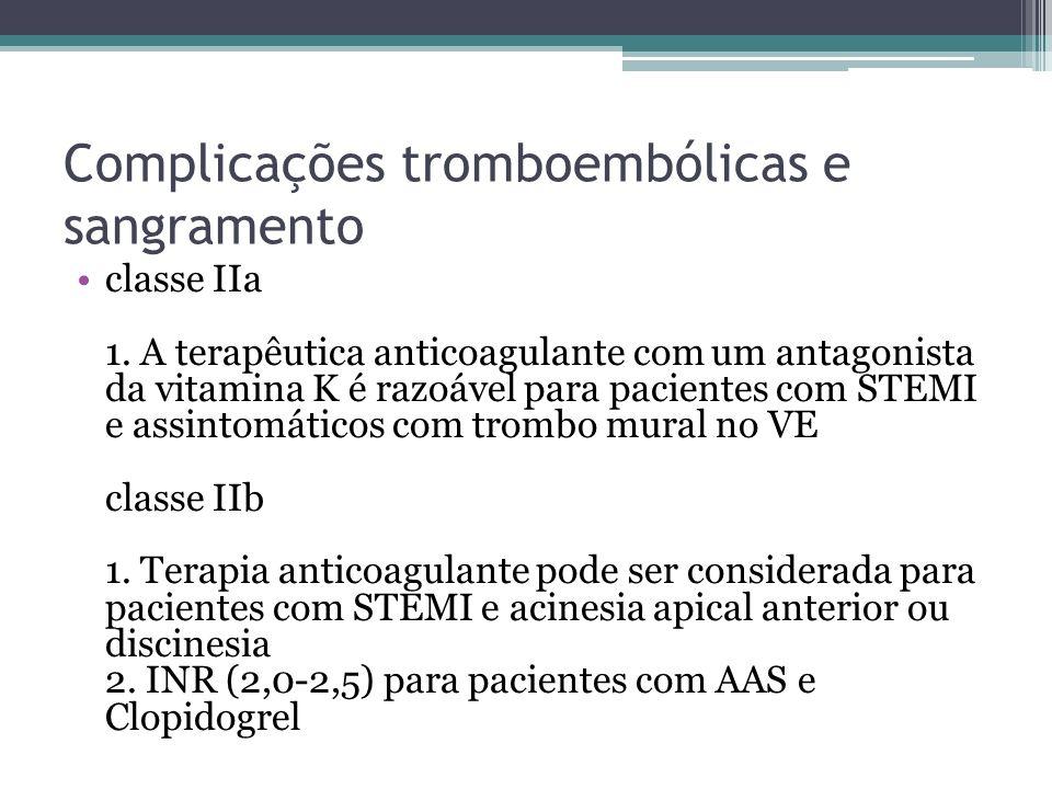 Complicações tromboembólicas e sangramento classe IIa 1. A terapêutica anticoagulante com um antagonista da vitamina K é razoável para pacientes com S