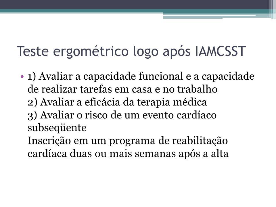 Teste ergométrico logo após IAMCSST 1) Avaliar a capacidade funcional e a capacidade de realizar tarefas em casa e no trabalho 2) Avaliar a eficácia d
