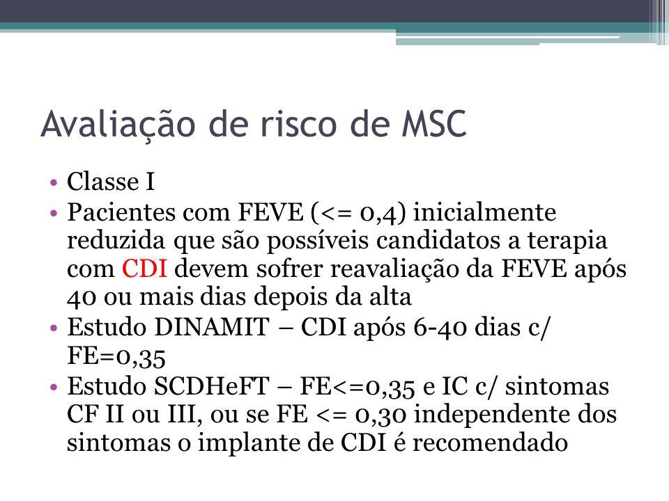 Avaliação de risco de MSC Classe I Pacientes com FEVE (<= 0,4) inicialmente reduzida que são possíveis candidatos a terapia com CDI devem sofrer reava