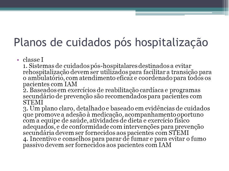 Planos de cuidados pós hospitalização classe I 1. Sistemas de cuidados pós-hospitalares destinados a evitar rehospitalização devem ser utilizados para