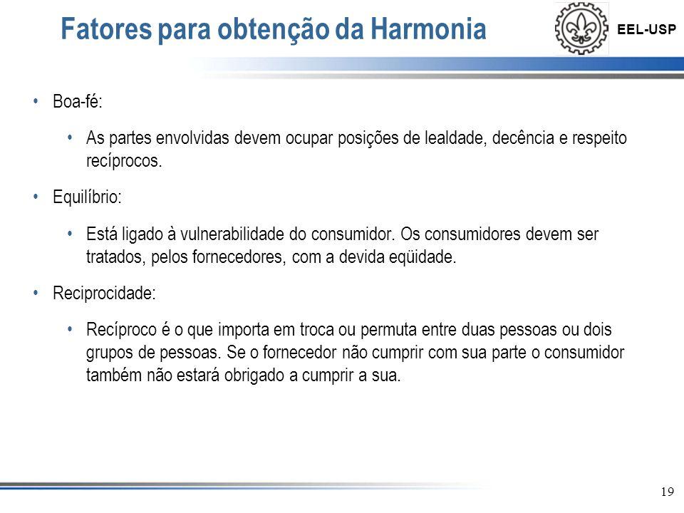 EEL-USP 20 Fatores para obtenção da Harmonia Confiança: A confiança deve existir entre as partes durante a negociação.