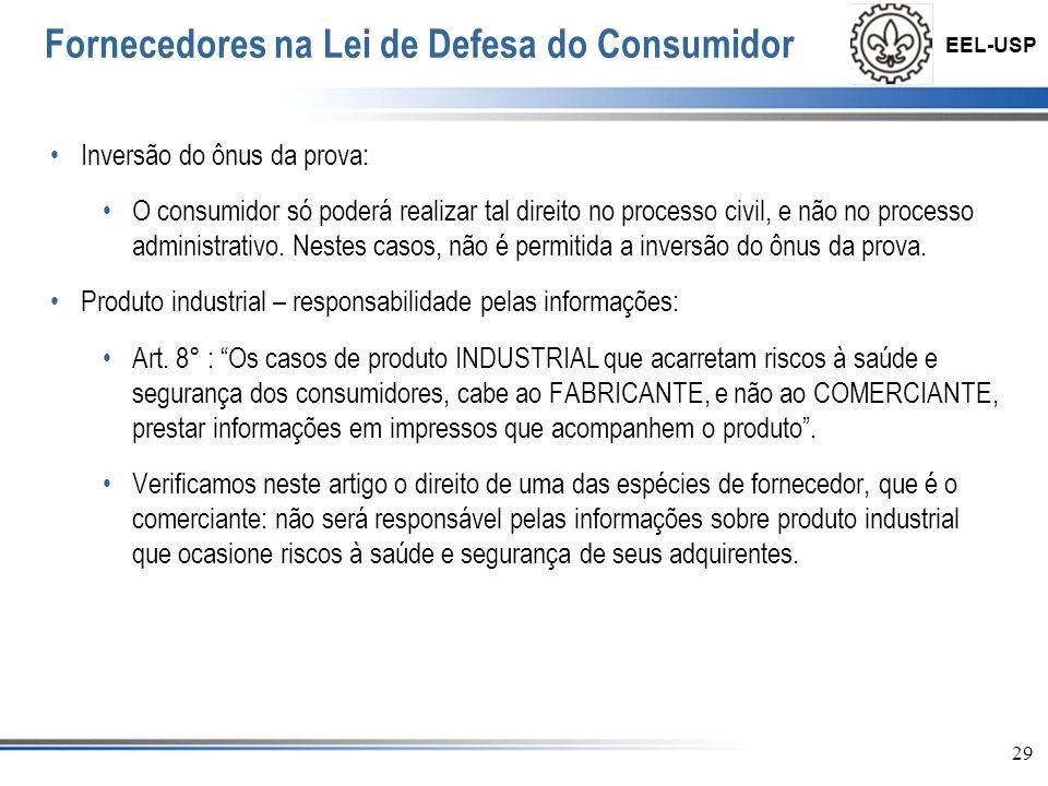 EEL-USP 30 Fornecedores na Lei de Defesa do Consumidor Excludente de responsabilidade Art.