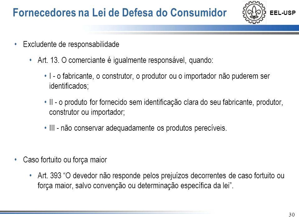 EEL-USP 31 Fornecedores na Lei de Defesa do Consumidor Direito de não indenizar: § 3° O fabricante, o construtor, o produtor ou importador só não será responsabilizado quando provar: I - que não colocou o produto no mercado; II - que, embora haja colocado o produto no mercado, o defeito inexiste; III - a culpa exclusiva do consumidor ou de terceiro.